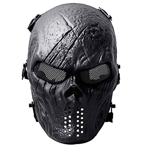 Fansport Paintball Maske, Airsoft Masken Ghost Skull Softair Maske Mesh-Maske Airsoft Taktische Maske Totenkopf Halloween Maske