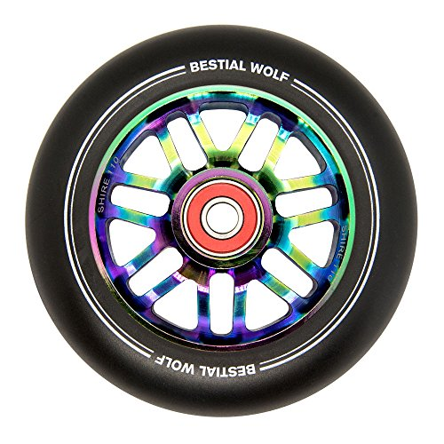 BESTIAL WOLF Rueda Shire PU Color Negro y Core Rainbow, Diámetro 110 mm