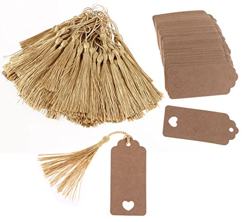Tupalizy Brown Rectangle Paper Wedding Party Favor Thank You Gift Tags with Gold Silky Floss Bookmarks Tassels for Jewelry Making, Souvenir, Decoration and DIY Craft Project, 200PCS (Gold & Brown)