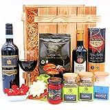 algawe Geschenkset Leonardo   Feinkost aus Bella Italia   Geschenkbox in Holzkiste   Delikatessen und italienischer Rotwein (1x0.75l)