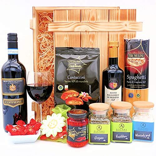 algawe Geschenkset Leonardo | Feinkost aus Bella Italia | Geschenkbox in Holzkiste | Delikatessen und italienischer Rotwein (1x0.75l)