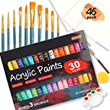 46 Pack Acrylic Paint Set, 30 Colors Acrylic Paint with 10 Paint Brushes 3 Painting Canvas 1 Paint Knife 1 Palette 1 Sponge, Complete Set For Canvas Wood Ceramic, Perfect Gift For Beginners Adults