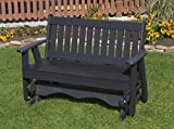 Ecommersify Inc 4FT-Black-Poly Lumber Mission Porch Glider Heavy Duty Everlasting PolyTuf HDPE - Made in USA - Amish...