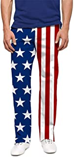 Loudmouth Golf-StretchTech Poly-John Daly Fun 4th of July Stars & Stripes Men's Pant-Tour Slit at Bottom Hem
