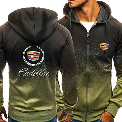 Herren Hoodie Für Cadillac 3D Print Mit Kapuze Sweatshirt Beiläufige Sportjacke Langarm Voller Reißverschluss Atmungsaktiver Mantel - Geburtstagsgeschenk Green-Large