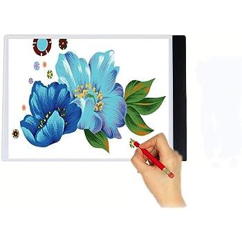 A4 LED Tableros de dibujo, MIRX Artista Ultra-delgada A4 LED Art Display Tablero de dibujo Plantilla Caja de luz de Búsquedas Tabla Tatto Tablero del Bosquejo Pantalla de laPlantilla Caja Ligera (A):