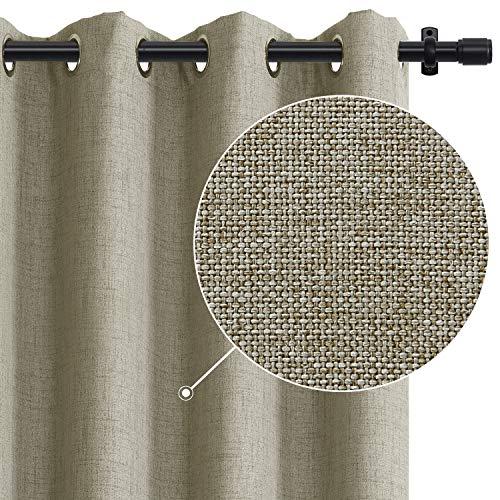 Rose Home Fashion - Juego de cortinas opacas con ojales, 2 paneles, con aislamiento térmico de lino, cortinas opacas con forro opaco para dormitorio, salón, 116,8 x 137,2 cm (ancho x largo), lino