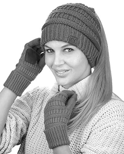 C.C BeanieTail Messy High Bun Cable Knit Beanie and Anti-Slip Touchscreen Gloves Set