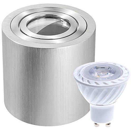 IP44 LED Aufbaustrahler Set Bicolor (chrom/gebürstet) mit LED GU10 Markenstrahler von LEDANDO - 7W - warmweiss - 30° Abstrahlwinkel - Feuchtraum/Badezimmer - 50W Ersatz - LED Aufbauleuchte Zylinder