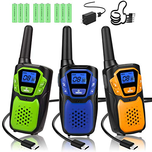 Walkie Talkies 3 Pack, Rechargeable Easy to Use Family Walky Talky Long Range 2 Way Radio Gift with NOAA Weather Channel Micro-USB Charger/Battery/Lanyard Hiking Camping Trip