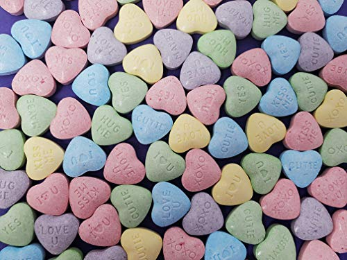 Wonka Sweetart Hearts Conversations Hard Candy, Pink Purple Green Blue Yellow, Bulk 2 Lbs