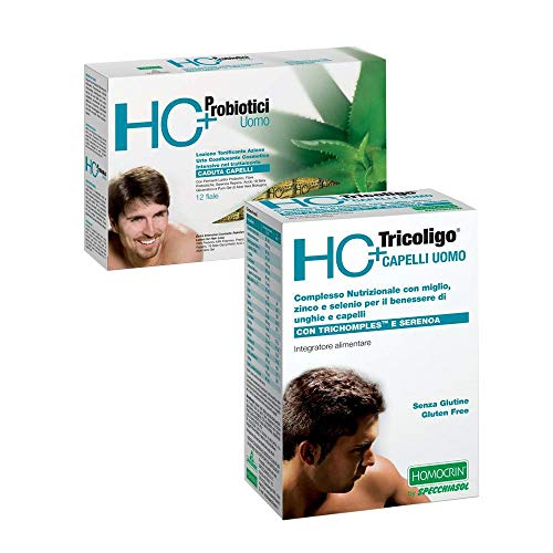 Specchiasol HC+ Anticaduta Uomo 12 Fiale + Integratore Capelli 20 Compresse