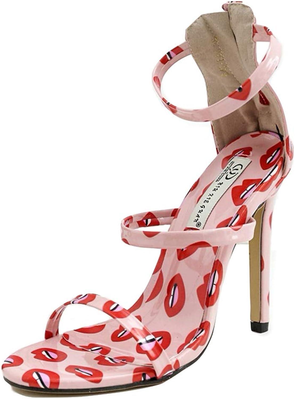 Women's Open Toe High Heels for Dress 11CM Stilettos Strappy Pump shoes Mid Heel Sandals,Pink,36