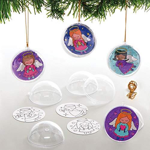 Baker Ross AX385 Kit Pallina Per L'Albero Di Natale Angelo Da Colorare - Confezione Da 8, Creativi Articoli Natalizi E Artigianali Per Bambini Da Realizzare E Decorare