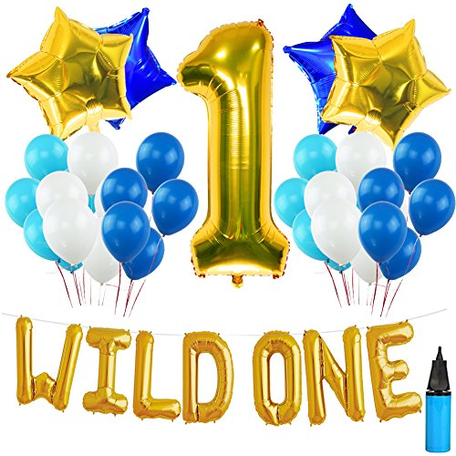 WILD ONE BIRTHDAY DECORATION KIT, Blue and White Balloons Set Perfect for 1st Bday Party Supplies Girl or Boy with One FREE Number 1 Cake Topper & Air Pump