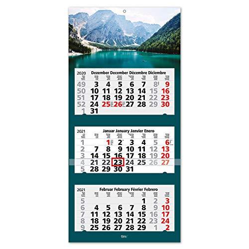 Calendario 2021 vista 3 meses Montañas I Calendario de pared tres meses I 33 x 70 cm I Multilingüe DE/EN/FR/ES I Con indicador de fecha I tr_030