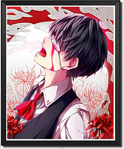 Tokyo Ghoul Anime Poster Canvas Wall Art Ken Kaneki Character Picture Wallpaper,8 x 10 Inches,No Frame