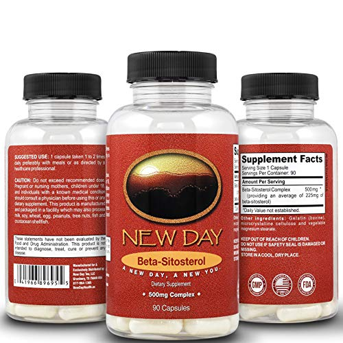 New Day Health | Pure Beta Sitosterol Natural Prostate Support Supplement - 90 Capsules, 500mg...