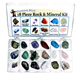 Rock and Mineral Educational Collection & Deluxe Collection Box -18 Pieces with Description Sheet and Educational Information. Limited Edition, Geology Gem Kit for Kids with Display Case, Dancing Bear