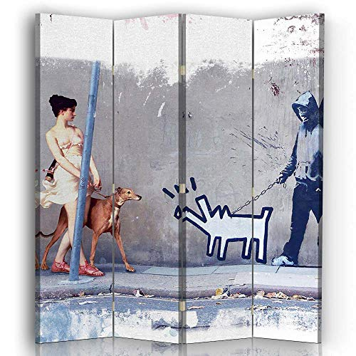 carowall CAROWALL.COM Biombo Lienzo Mujer con Perro 4 Paneles Bilateral Gris 145x175 cm