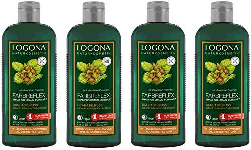 Logona Farbreflex Shampoo Braun-Schwarz Bio-Haselnuss, 4 x 250ml