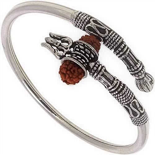 SataanReaper Presents Designer Silver Oxidized Shiva Trishul Rudraksha Damroo Kada Bracelet Bangle for Men and Boys #SR-1375