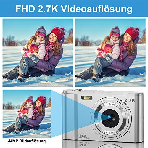 CLUINIGO Digitalkamera, FHD 2.7K 44MP Pocket Vlogging Vidio Foto Kompaktkameras für YouTube mit 16-fachem Digitalzoom, 2,88-Zoll-LCD-Bildschirm für Kinder Senioren Anfänger Reise (2 Batterien)