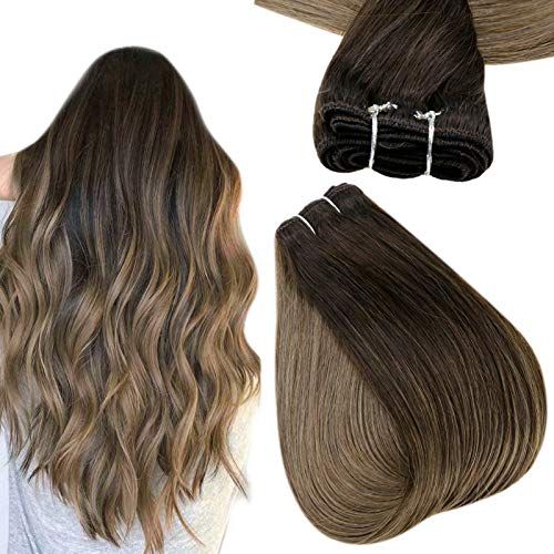 Easyouth Sew in Hair Extensions Real Human Hair 22 Inch 100g Color 2 Dark Brown Fading to 8 Ash Brown Weft Hair Extensiosn for Women