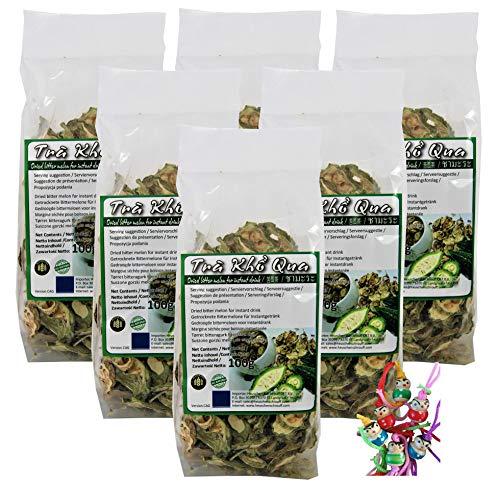 yoaxia ® - 6er Pack -[ 6x 100g ] Gohyah Tea / Bittermelone Tee / Bitter Melon Tea aus Vietnam + ein kleines Glückspüppchen - Holzpüppchen