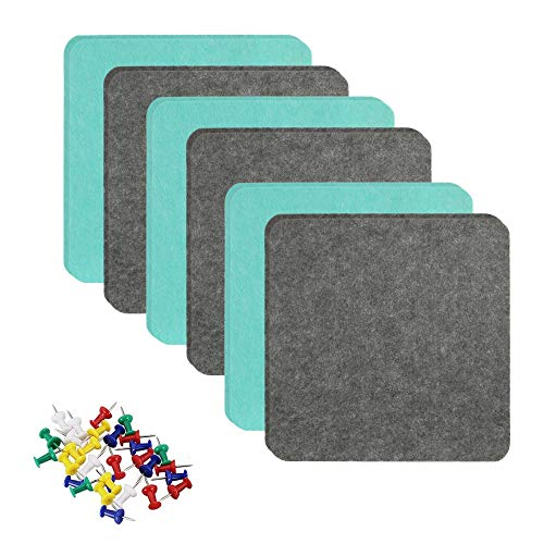 """SHINGONE 1/2"""" Thick Felt Tile Board, 12×12"""" Ultra Strong Backing Wall Bulletin Boards, Board for Wall with 30 Push Pin Decor Self Adhesive Cork Bulletin Board for Pictures, Memo, Office, Home Decor"""