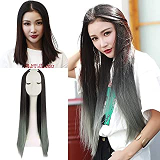 "SARLA 28"" Long Straight U Part Half Wig Clip in Ombre Green Synthetic None Lace Front Thick Full Head Clip on Hair Extensi..."