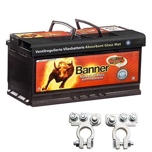 Banner Vliesbatterie AGM Running Bull 105AH 12V 60501 Batterie inkl. Polklemmen Auto Boot Wohnmobil