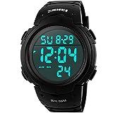 Sunjas Armbanduhr Sportuhr 50 Meter Wasserdicht Uhr Digital Led Alarm Kalender Uhren Watches für...