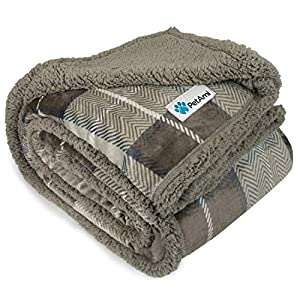 PetAmi Dog Blanket, Plaid Sherpa Dog Blanket | Plush, Reversible, Warm Pet Blanket for Dog Bed, Couch, Sofa, Car (Taupe, 60×80 Inches)