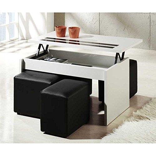 Muebles Baratos Mesa de Centro elevable, Elige Modelo Y Color, ref-19 (Blanca y Negra Doble Cristal)