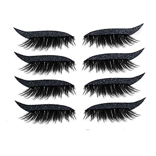 7 Color 4 Pairs Reusable Eyeliner Stickers False Eyelashes Makeup Instant Easy Application, Waterproof & Durable, 3-5 Days Long Times Preserve Original Color (Black)