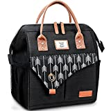 Lekesky Insulated Lunch Bag for Women Leakproof Wide Open Lunch Box Reusable Lunch Cooler Bag for Adults Work, Black