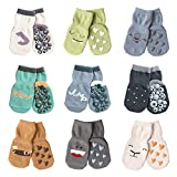 color crew - Toddler Boys Girls Crew Socks With Grips Baby and Kids Non-Skid Cartoon Ankle Cotton Socks 9 Pack, Assorted Color, 3-5 Years