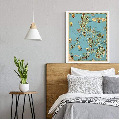None brand 30er Jahre Philippinen Inseln skurrile Karte Leinwand drucken Spaß Bildkarte Vintage Poster Wandkunst Malerei Home Room Decor-40X60cm
