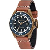 SPINNAKER Men's Tesei 42mm Brown Leather Band Metal Case Automatic Blue Dial Analog Watch SP-5060-03