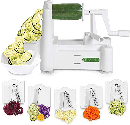 Spiralizer 5Blade Vegetable Slicer StrongestandHeaviest Spiral Slicer Best Veggie Pasta Spaghetti Maker for Keto/Paleo/GlutenFree Comes with 4 Recipe Ebooks
