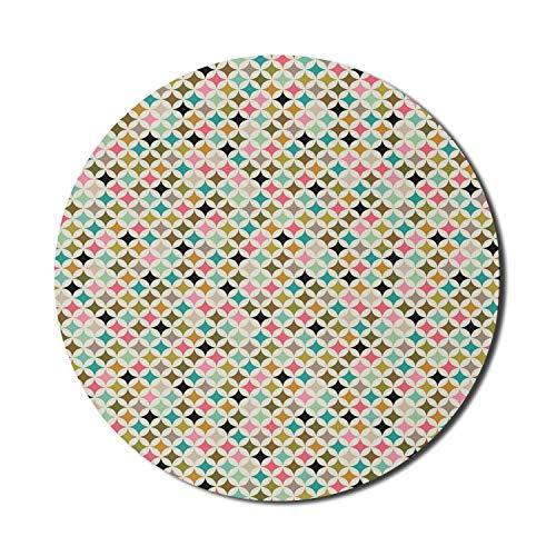 Geometrisches Mauspad für Computer, weißes Hintergrundbild des Diamanten buntes Kristall wie Dreieck-Formen-Kunstbild, rundes rutschfestes dickes Gummi-modernes Gaming-Mauspad, 8 'rund, mehrfarbig