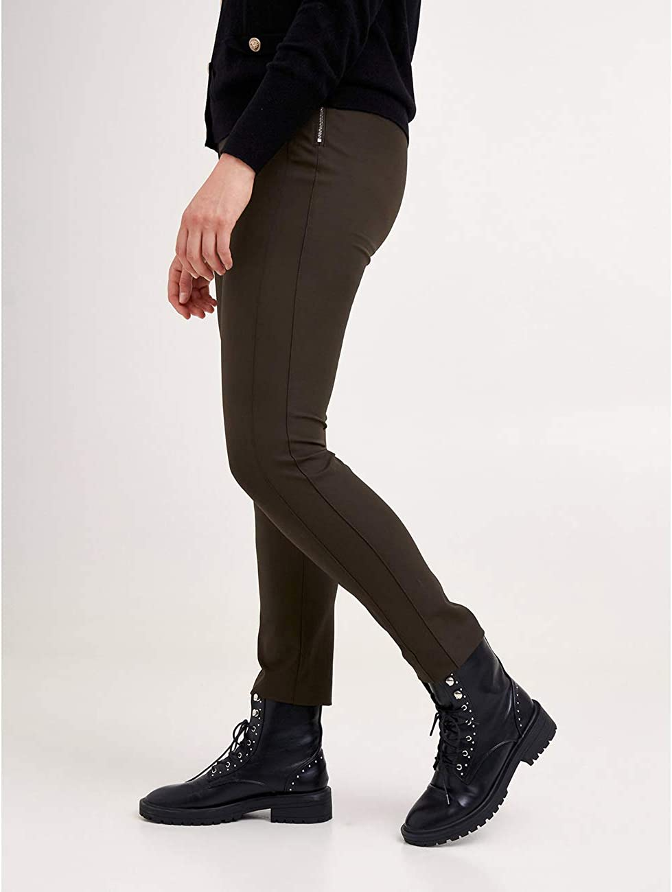 Pantaloni Skinny con Zip sul Fianco Italian Plus Size Fiorella Rubino