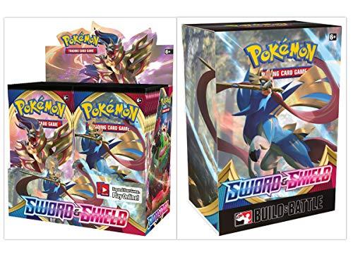 Pokémon TCG Sword & Shield Booster Box + Build and Battle Box Prerelease Kit Pokémon Trading Card Game Bundle, 1 of Each image