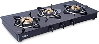 Glen 1033 Glass Cooktop 3 Brass Burner with SS Drip Tray Gas Stove (Black)