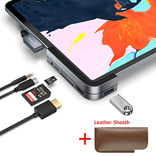 Invisible USB C Hub for iPad Pro, iPad Pro 2018 Docking Station Stouchi 6 in 1 iPad Pro Dongle Adapter- USB 3.1 (5Gb/s), 4K HDMI, 3.5mm Headphone and Micro/SD Card Readers for 2018 iPad Pro and More