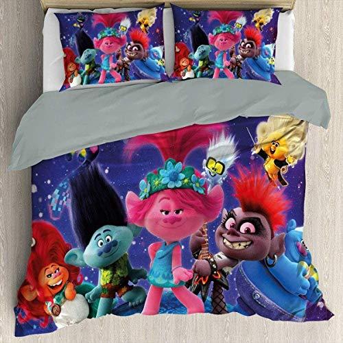 YOMOCO Trolls - Juego de ropa de cama infantil (8-8,220 x 240 cm + 50 x 75 cm x 2)