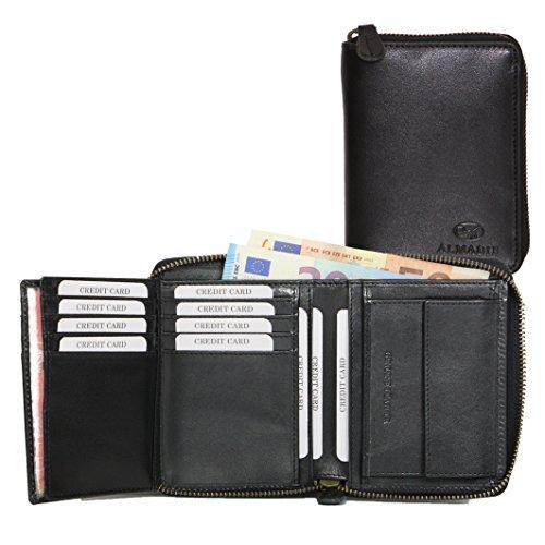 ALMADIH Premium Leder Portemonnaie Hochformat mit Reißverschluss 17 Kartenfächer in Geschenkbox Rindsleder - P2H-RV schwarz - Herren Börse Geldbörse Geldbeutel Portmonee Brieftasche (P2H-RV Schwarz)