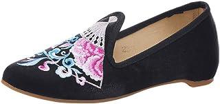 IOSHAPO Chinese stijl Dames Lichtgewicht Puntig Borduurwerk Schoenen
