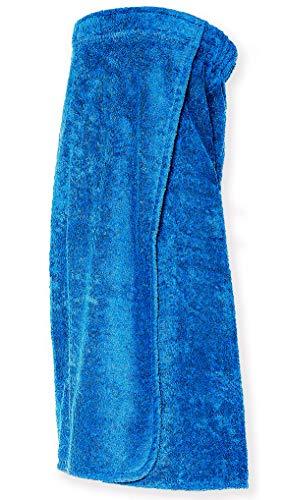 Arus Saunakilt für Damen 100% Bio-Baumwolle-Frottee mit Gummizug und Klettverschluss Größe: S/M, Farbe: Royalblau